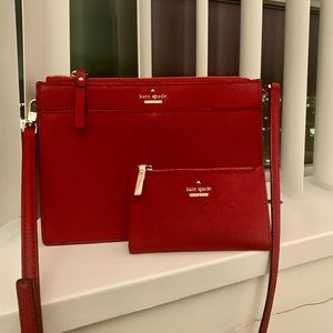 Kate spade red crossbody purse & wallet
